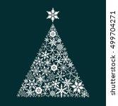 snowflake pine tree. christmas... | Shutterstock .eps vector #499704271