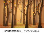 autumnal forest with falling... | Shutterstock .eps vector #499710811