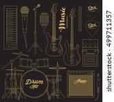 vector rock music instruments.... | Shutterstock .eps vector #499711357