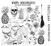 vector hand drawn set halloween ... | Shutterstock .eps vector #499712581