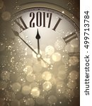 2017 new year sepia background... | Shutterstock .eps vector #499713784