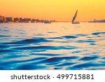silhouette of felucca at golden ...   Shutterstock . vector #499715881