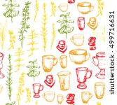 seamless pattern with cups and... | Shutterstock .eps vector #499716631