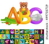abc animal letters for school...   Shutterstock .eps vector #499733719