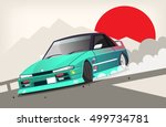 poster with a drift racing car... | Shutterstock .eps vector #499734781