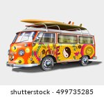 retro bus with surf boards | Shutterstock .eps vector #499735285