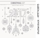 new year set   hanging... | Shutterstock .eps vector #499743895