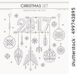 new year set   hanging... | Shutterstock .eps vector #499743895