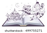 open book story tale magic lamp ... | Shutterstock .eps vector #499755271