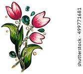floral embroidery and sequins... | Shutterstock .eps vector #499771681