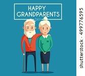 happy grandparents. cartoon... | Shutterstock . vector #499776595