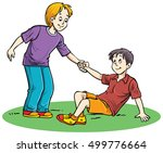 a boy helping his friend who... | Shutterstock .eps vector #499776664
