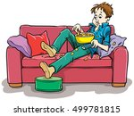 boy on the couch watching a...   Shutterstock .eps vector #499781815