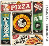 pizza retro tin signs collection | Shutterstock .eps vector #499784917