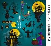 halloween background. horror... | Shutterstock .eps vector #499786561