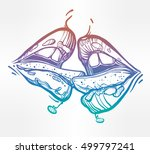 sexy beautiful couple kissing.... | Shutterstock .eps vector #499797241