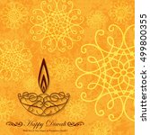 decorative diwali greeting on... | Shutterstock .eps vector #499800355