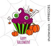 cute  card with violet monster... | Shutterstock .eps vector #499802281