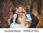 autumn wedding kiss. two... | Shutterstock . vector #499815781