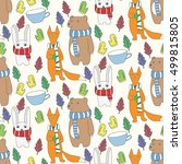 animal cute pattern  bear  fox  ... | Shutterstock .eps vector #499815805
