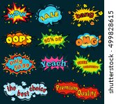 wow comic sound effects in pop... | Shutterstock .eps vector #499828615