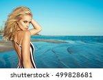 portrait of chic blond woman in ... | Shutterstock . vector #499828681