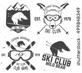 Ski club concept. Vector ski club retro badge. Concept for shirt, print, seal or stamp. Skis, mountain, bear and goggles. Typography design- stock vector. Family vacation, activity or travel