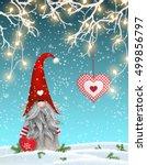 scandinavian christmas... | Shutterstock .eps vector #499856797