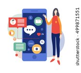 young woman standing near a... | Shutterstock .eps vector #499871551
