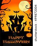 happy halloween poster  card ... | Shutterstock .eps vector #499872004