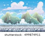 cartoon vector snow landscape... | Shutterstock .eps vector #499874911