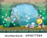 cartoon vector underwater... | Shutterstock .eps vector #499877989