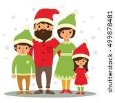 happy christmas family  vector... | Shutterstock .eps vector #499878481
