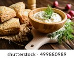 curd spread with egg  onion ... | Shutterstock . vector #499880989