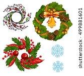 set of homemade christmas wall... | Shutterstock .eps vector #499881601
