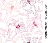 seamless pattern with lily... | Shutterstock .eps vector #499883959