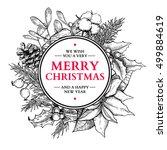 christmas wreath. vector hand... | Shutterstock .eps vector #499884619