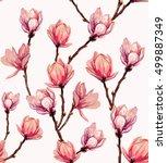 seamless magnolia pattern.... | Shutterstock .eps vector #499887349