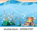 cartoon vector underwater... | Shutterstock .eps vector #499893787