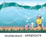 cartoon vector underwater...   Shutterstock .eps vector #499895479