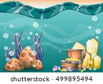 cartoon vector underwater... | Shutterstock .eps vector #499895494