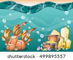 cartoon vector underwater... | Shutterstock .eps vector #499895557