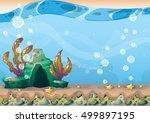 cartoon vector underwater... | Shutterstock .eps vector #499897195