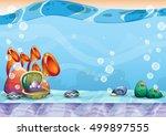 cartoon vector underwater...   Shutterstock .eps vector #499897555