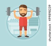 caucasian hipster man lifting a ... | Shutterstock .eps vector #499898239
