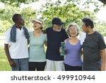 senior group friends exercise... | Shutterstock . vector #499910944