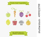 vector template with fruit and... | Shutterstock .eps vector #499923799