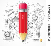 red pencil on the background of ... | Shutterstock .eps vector #499926211