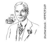 Henry Ford. Hand Drawn Portrai...