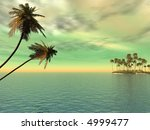 coconut palm trees on a small... | Shutterstock . vector #4999477